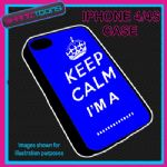 FITS IPHONE 4 / 4S PHONE KEEP CALM IM A OWN WORDING  PERSONALISED COVER BLUE